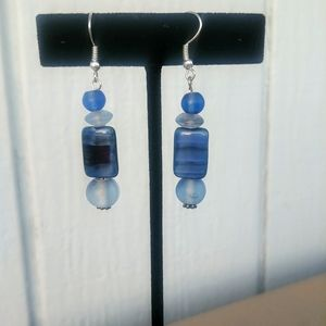 Jewelry - Blue & Black Beaded Hanging Earrings